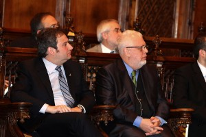 L'Alcalde de Barcelona, Jordi Hereu, i el secretari general del Consell Evangèlic de Catalunya, Guillem Correa, en un moment de l'acte