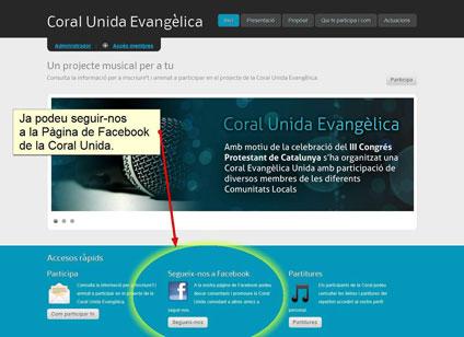 Coral Unida: Web i Facebook